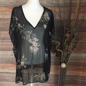 BLACK SHEER C NECK FLORAL PRINT SWIMSUIT COVER UP